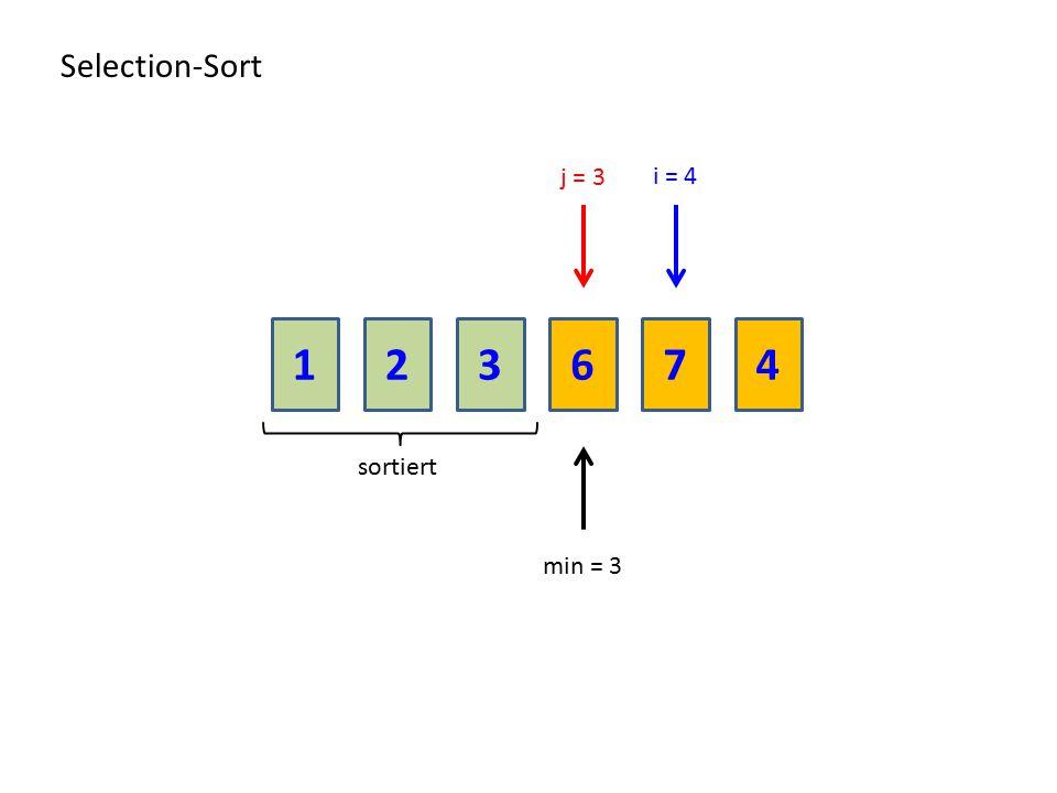 213674 Selection-Sort sortiert j = 3 min = 3 i = 4