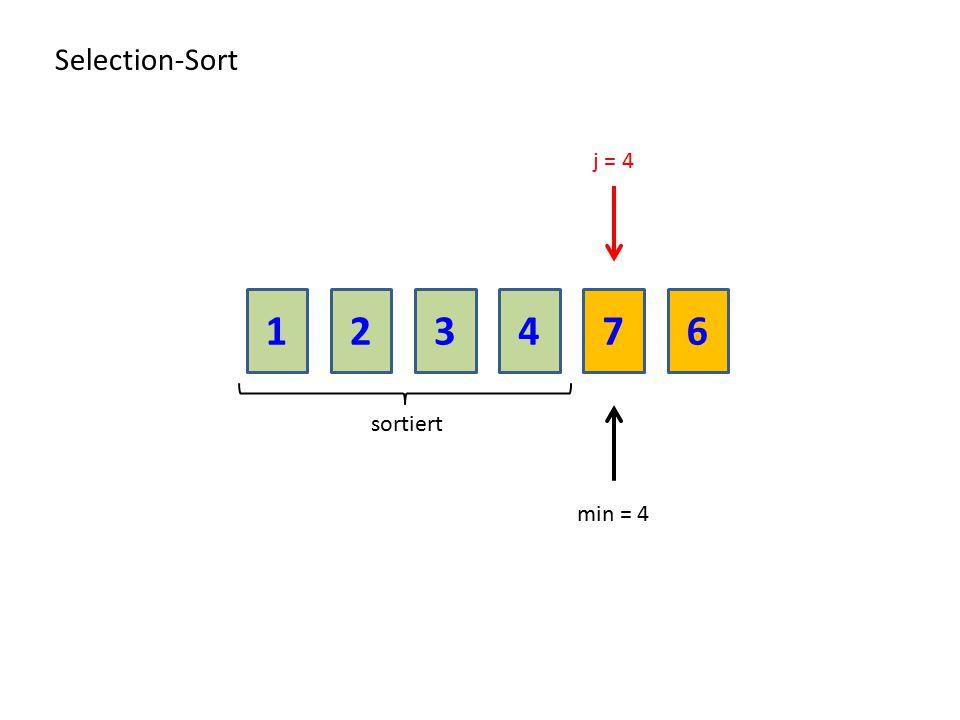 213476 Selection-Sort sortiert j = 4 min = 4