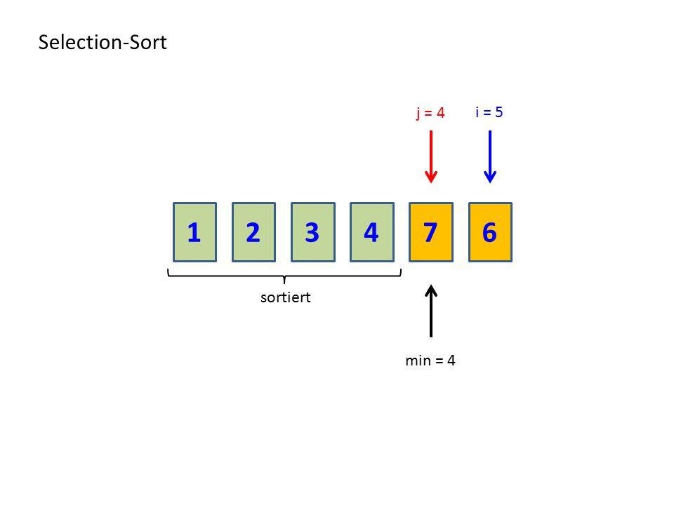 213476 Selection-Sort sortiert j = 4 min = 4 i = 5