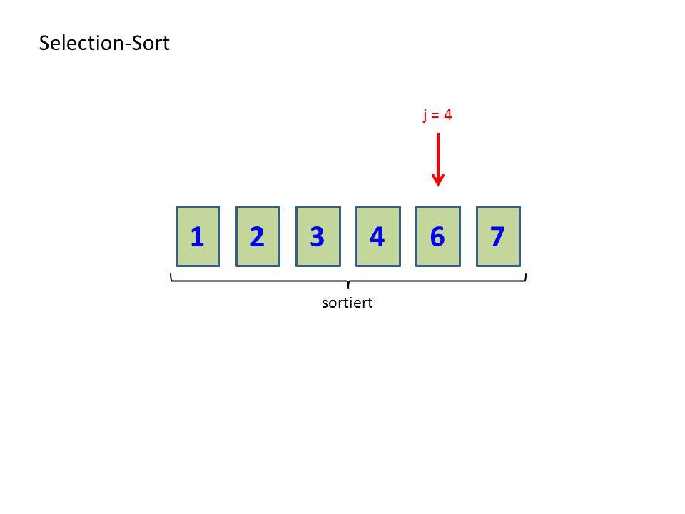 213467 Selection-Sort sortiert j = 4