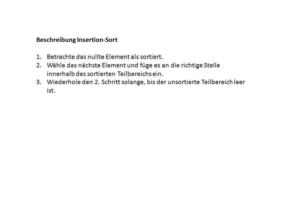 Beschreibung Insertion-Sort 1.Betrachte das nullte Element als sortiert.