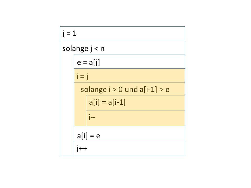 i = j solange i > 0 und a[i-1] > e i-- solange j < n j = 1 e = a[j] a[i] = a[i-1] a[i] = e j++