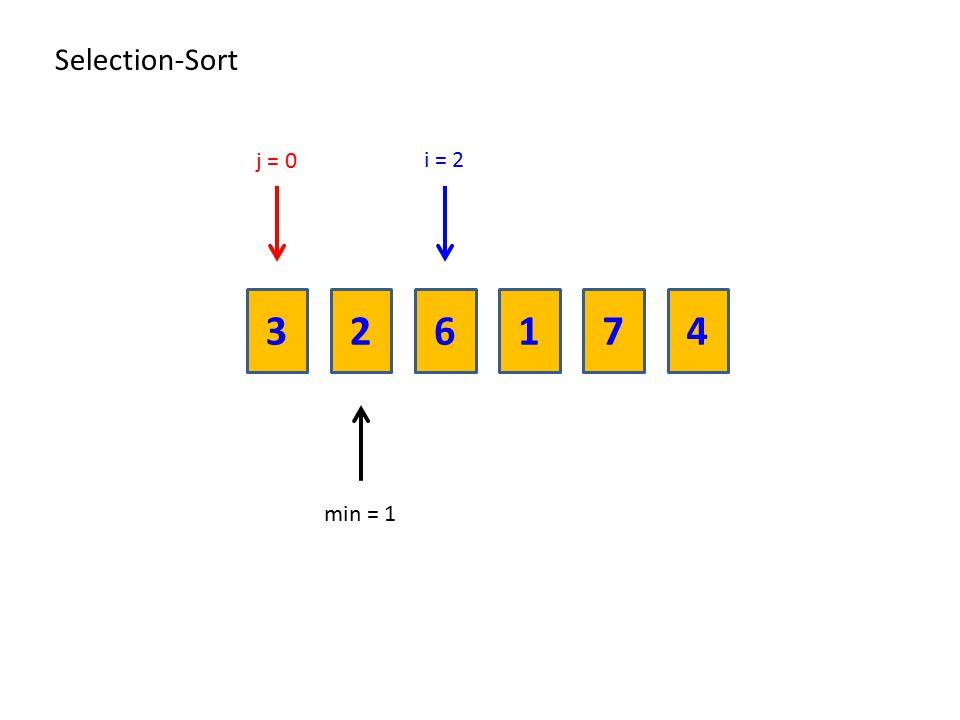 236174 Selection-Sort i = 2 min = 1 j = 0