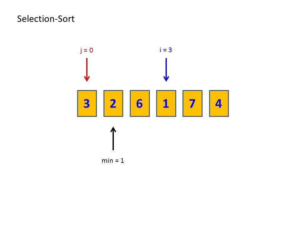 236174 Selection-Sort i = 3 min = 1 j = 0