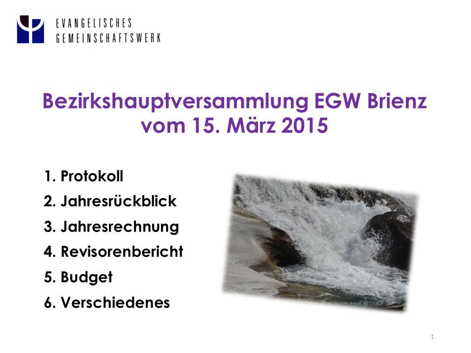 Bezirkshauptversammlung EGW Brienz vom 15. März 2015 1 1.