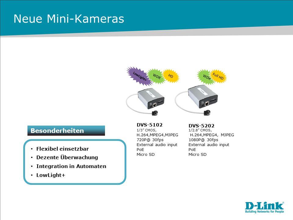 """Neue Mini-Kameras Besonderheiten Flexibel einsetzbar Dezente Überwachung Integration in Automaten LowLight+ DVS-5102 1/3"""" CMOS, H.264,MPEG4,MJPEG 720P"""