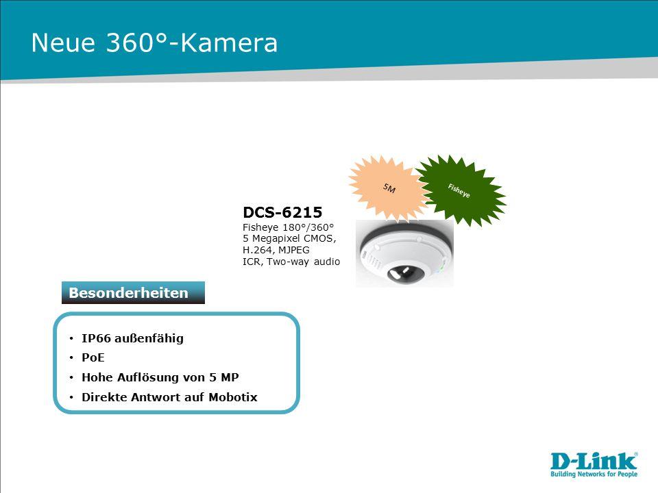 Neue 360°-Kamera Besonderheiten IP66 außenfähig PoE Hohe Auflösung von 5 MP Direkte Antwort auf Mobotix DCS-6215 Fisheye 180°/360° 5 Megapixel CMOS, H