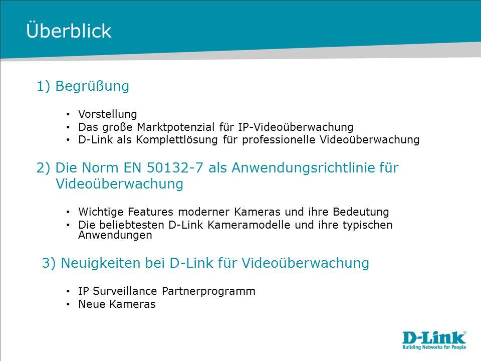Überblick 1) Begrüßung Vorstellung Das große Marktpotenzial für IP-Videoüberwachung D-Link als Komplettlösung für professionelle Videoüberwachung 2) D