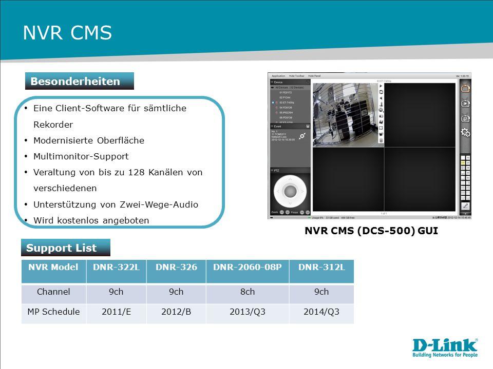 NVR CMS Besonderheiten Eine Client-Software für sämtliche Rekorder Modernisierte Oberfläche Multimonitor-Support Veraltung von bis zu 128 Kanälen von