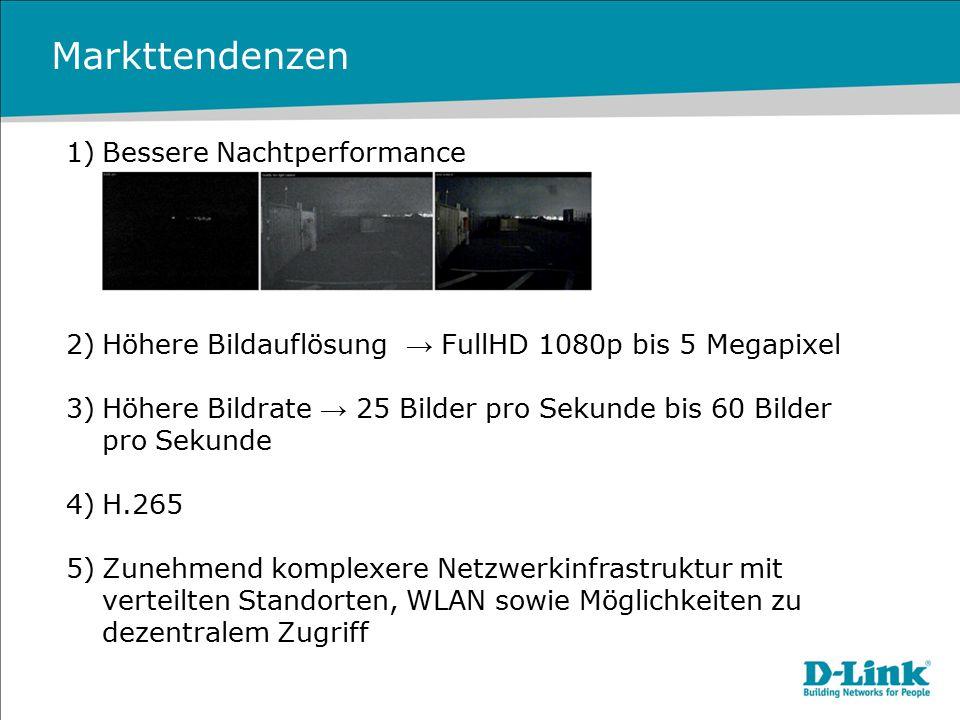 Markttendenzen 1)Bessere Nachtperformance 2)Höhere Bildauflösung → FullHD 1080p bis 5 Megapixel 3)Höhere Bildrate → 25 Bilder pro Sekunde bis 60 Bilde