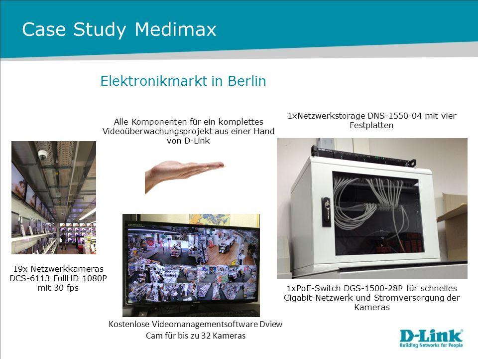 Case Study Medimax 19x Netzwerkkameras DCS-6113 FullHD 1080P mit 30 fps Kostenlose Videomanagementsoftware Dview Cam für bis zu 32 Kameras 1xNetzwerks