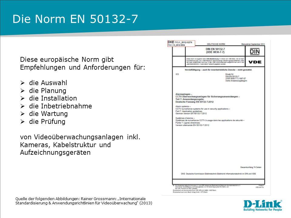 Die Norm EN 50132-7 Diese europäische Norm gibt Empfehlungen und Anforderungen für:  die Auswahl  die Planung  die Installation  die Inbetriebnahm