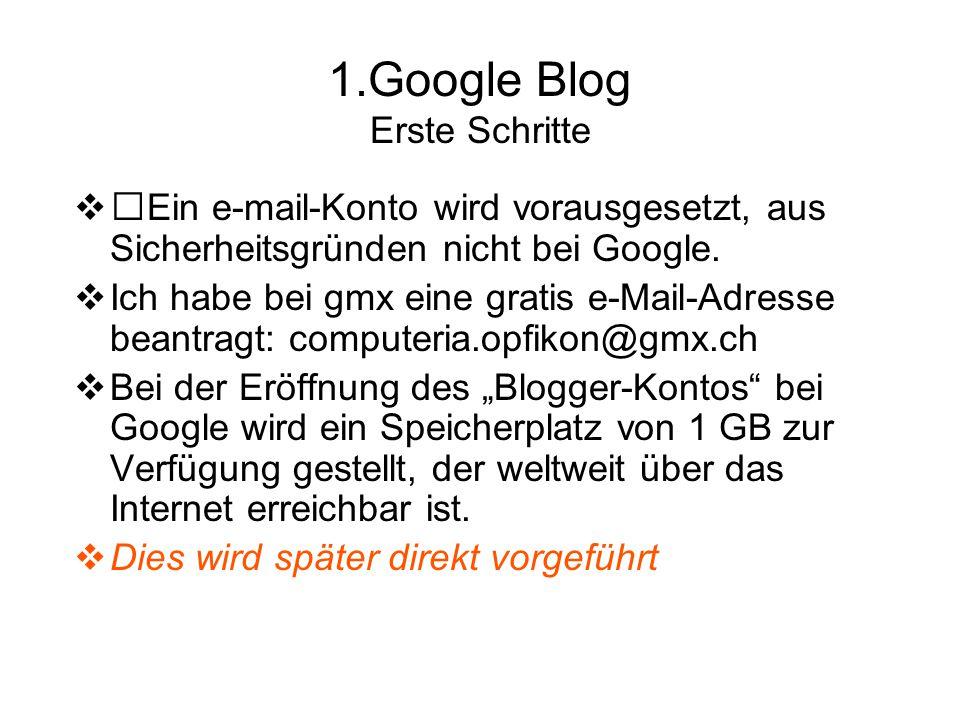 Google Startseite Klick in das Wort Anmelden