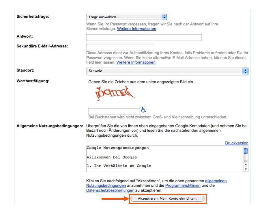 E-Mail Bestätigung des Google-Kontos Menü-Leiste