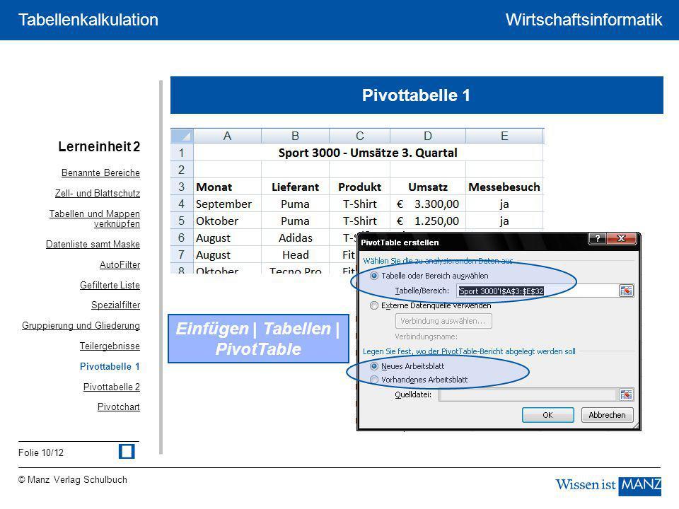 © Manz Verlag Schulbuch Wirtschaftsinformatik Folie 10/12 Tabellenkalkulation Pivottabelle 1 Einfügen | Tabellen | PivotTable Lerneinheit 2 Benannte B