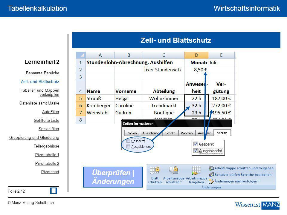 © Manz Verlag Schulbuch Wirtschaftsinformatik Folie 2/12 Tabellenkalkulation Zell- und Blattschutz Überprüfen | Änderungen Lerneinheit 2 Benannte Bere