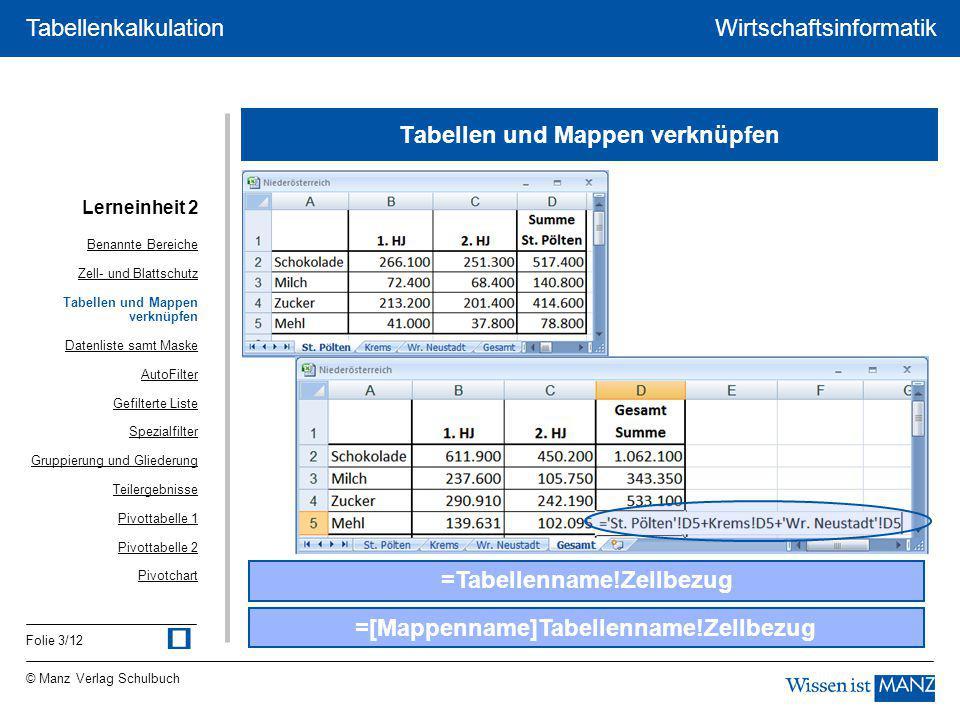 © Manz Verlag Schulbuch Wirtschaftsinformatik Folie 3/12 Tabellenkalkulation Tabellen und Mappen verknüpfen =Tabellenname!Zellbezug =[Mappenname]Tabel