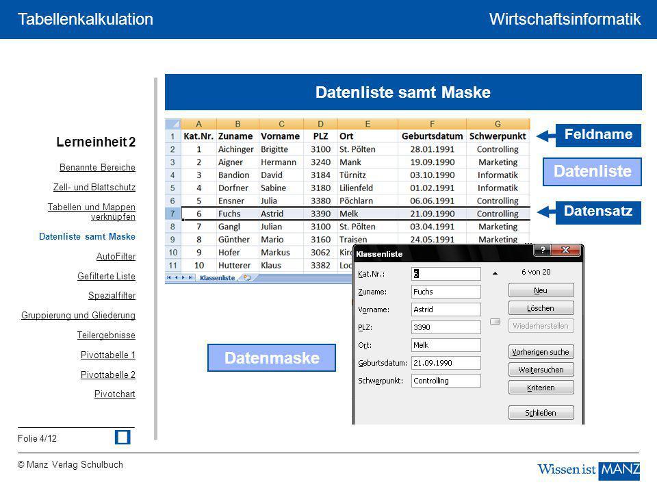 © Manz Verlag Schulbuch Wirtschaftsinformatik Folie 4/12 Tabellenkalkulation Datenliste samt Maske Datenliste Datensatz Feldname Datenmaske Lerneinhei