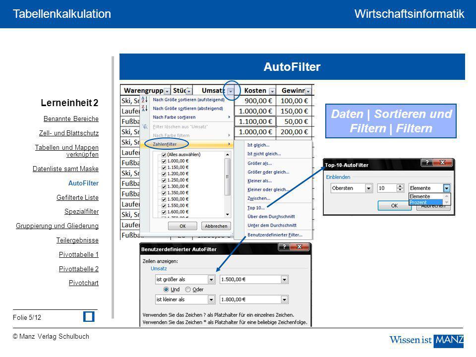 © Manz Verlag Schulbuch Wirtschaftsinformatik Folie 5/12 Tabellenkalkulation AutoFilter Daten | Sortieren und Filtern | Filtern Lerneinheit 2 Benannte