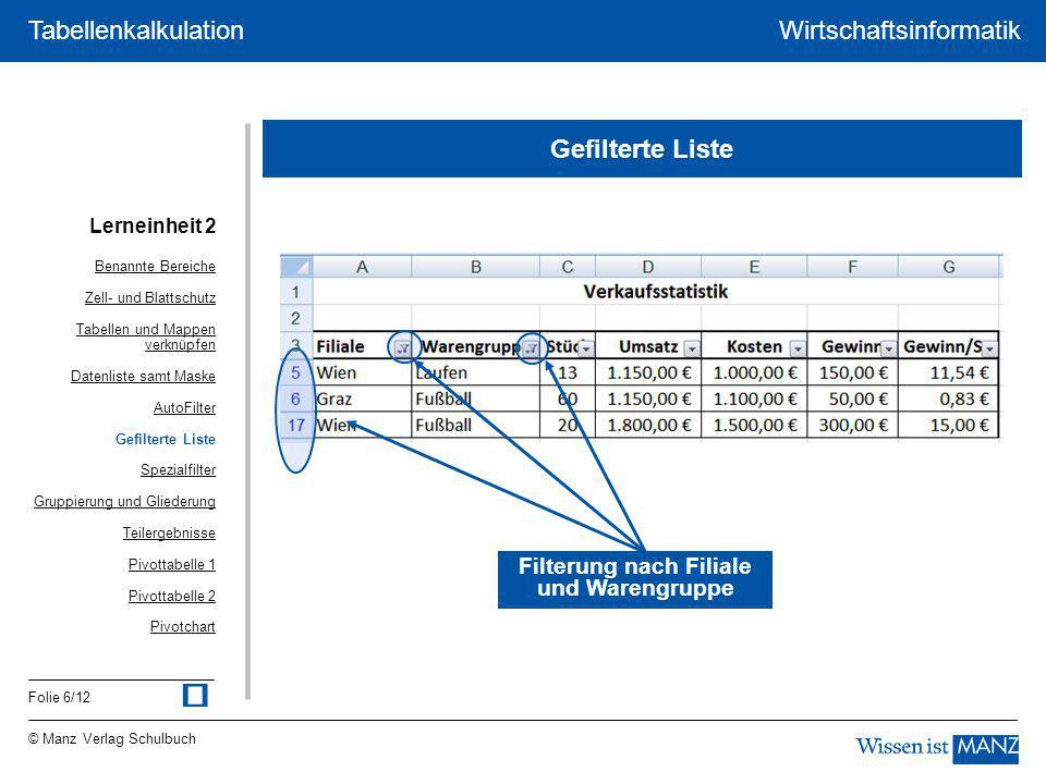 © Manz Verlag Schulbuch Wirtschaftsinformatik Folie 6/12 Tabellenkalkulation Gefilterte Liste Filterung nach Filiale und Warengruppe Lerneinheit 2 Ben
