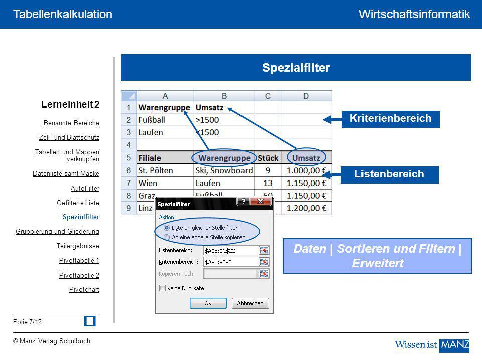 © Manz Verlag Schulbuch Wirtschaftsinformatik Folie 7/12 Tabellenkalkulation Spezialfilter Daten | Sortieren und Filtern | Erweitert Kriterienbereich