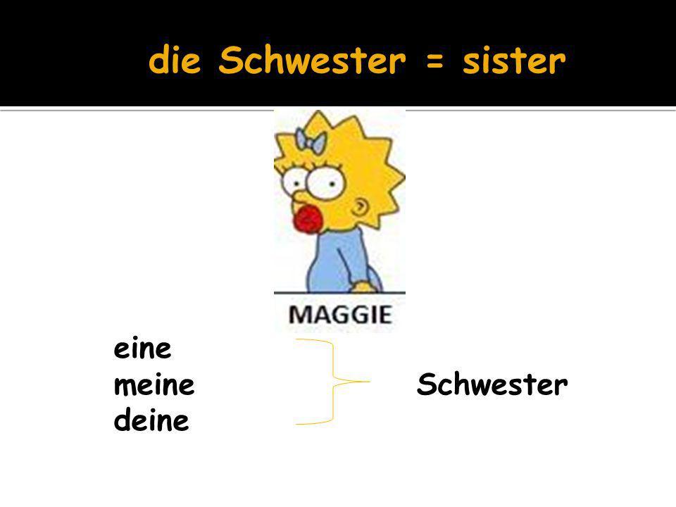 die Schwester = sister eine meine Schwester deine
