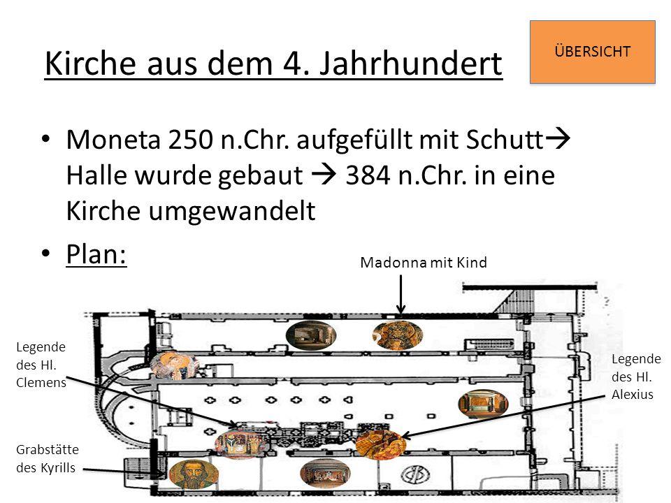 ÜBERSICHT Kirche aus dem 4. Jahrhundert Moneta 250 n.Chr. aufgefüllt mit Schutt  Halle wurde gebaut  384 n.Chr. in eine Kirche umgewandelt Plan: Mad