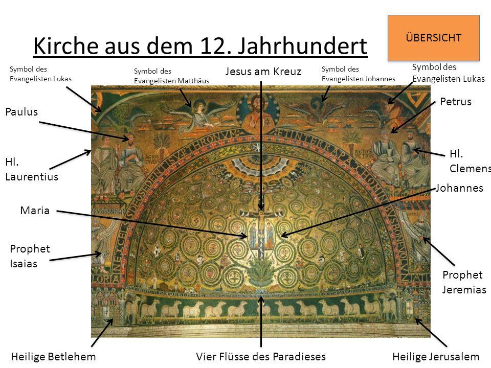 ÜBERSICHT Kirche aus dem 12. Jahrhundert Johannes Maria Vier Flüsse des Paradieses Petrus Hl. Clemens Prophet Jeremias Jesus am Kreuz Symbol des Evang