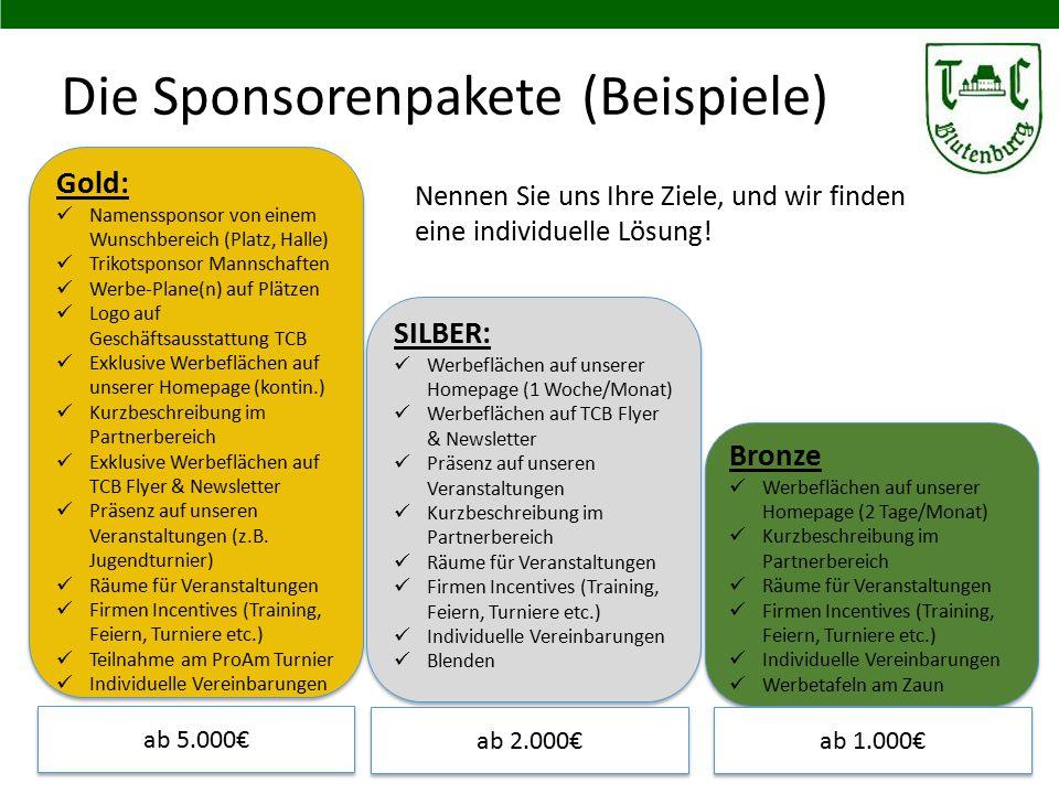 Die Sponsorenpakete (Beispiele) 12 Gold: Namenssponsor von einem Wunschbereich (Platz, Halle) Trikotsponsor Mannschaften Werbe-Plane(n) auf Plätzen Lo