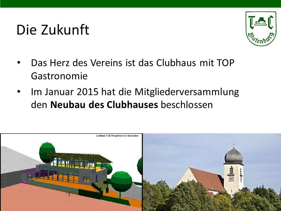 Die Zukunft Das Herz des Vereins ist das Clubhaus mit TOP Gastronomie Im Januar 2015 hat die Mitgliederversammlung den Neubau des Clubhauses beschloss