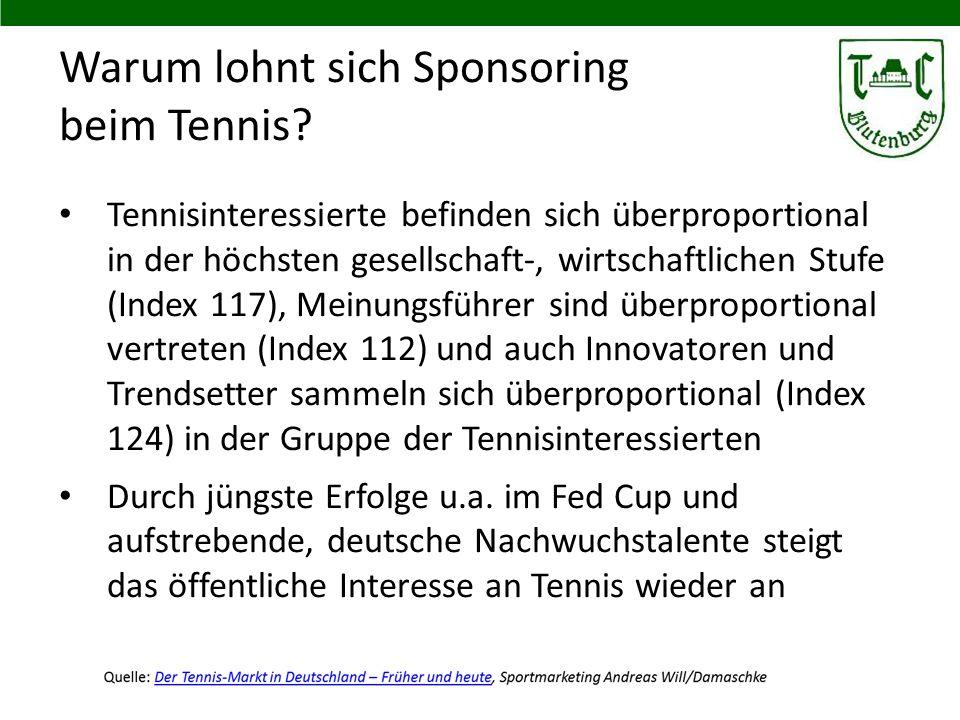 Warum lohnt sich Sponsoring beim Tennis? Tennisinteressierte befinden sich überproportional in der höchsten gesellschaft-, wirtschaftlichen Stufe (Ind