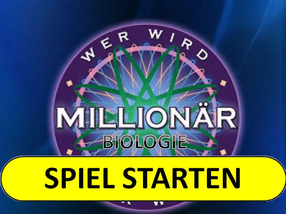 50:50 Publikum 15€1 MILLION 14€500.000 13€125.000 12€64.000 11€32.000 10€16.000 9€8.000 8€4.000 7€2.000 6€1.000 5€500 4€300 3€200 2 €100 1 €50 Frage2: Aus wieviel Zellen besteht eine Bakterie.