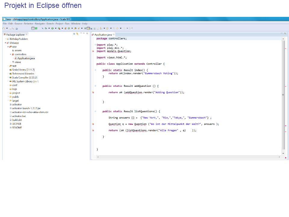 Projekt in Eclipse öffnen