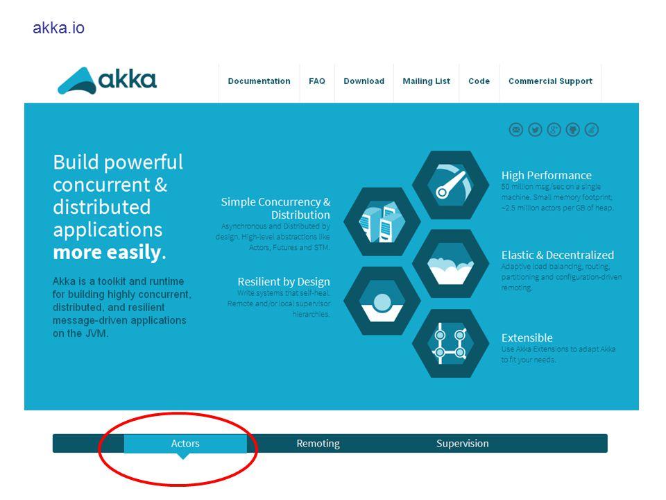 Akka Actor-Framework für Java und Scala Ersetzt die bisherigen Actors in Scala –Funktioniert konzeptionell genau wie bisher gesehen –Etwas aufwändigere Einarbeitung: http://doc.akka.io/docs/akka/2.3.8/intro/getting-started.html http://doc.akka.io/docs/akka/2.3.8/intro/getting-started.html –Effizienter und robuster