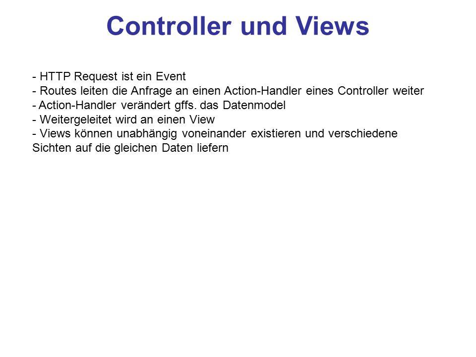 Controller und Views - HTTP Request ist ein Event - Routes leiten die Anfrage an einen Action-Handler eines Controller weiter - Action-Handler verände
