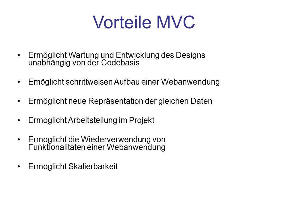 Vorteile MVC Ermöglicht Wartung und Entwicklung des Designs unabhängig von der Codebasis Emöglicht schrittweisen Aufbau einer Webanwendung Ermöglicht