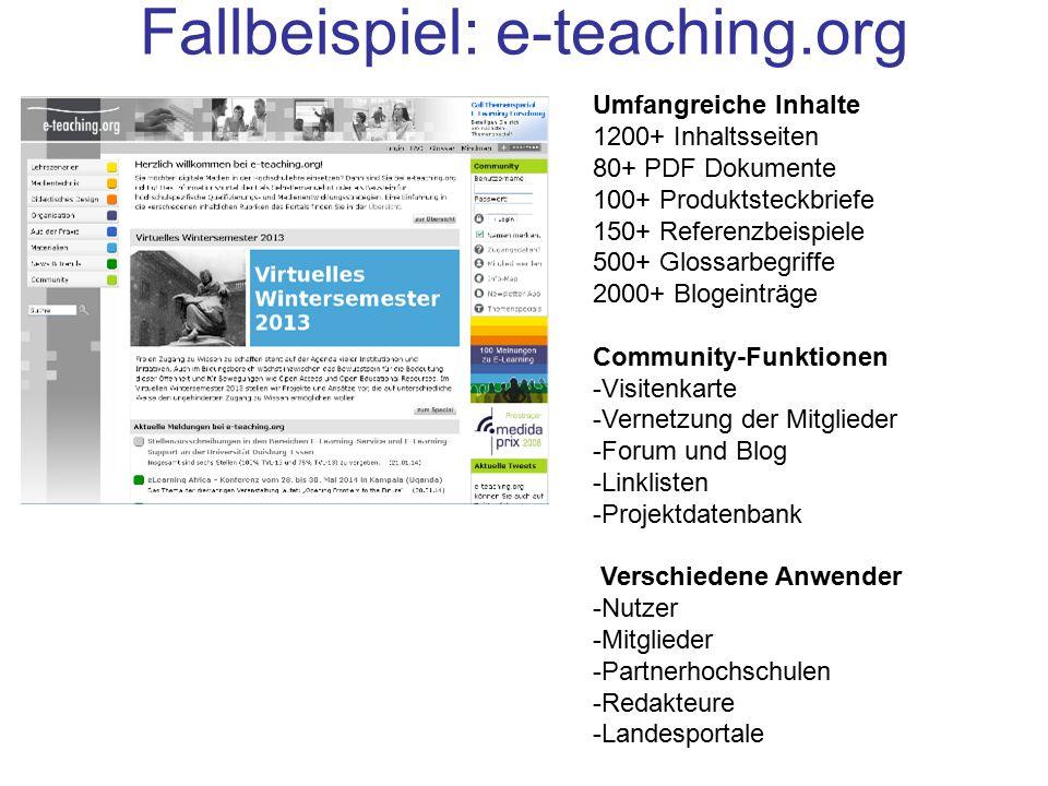 Fallbeispiel: e-teaching.org Umfangreiche Inhalte 1200+ Inhaltsseiten 80+ PDF Dokumente 100+ Produktsteckbriefe 150+ Referenzbeispiele 500+ Glossarbeg