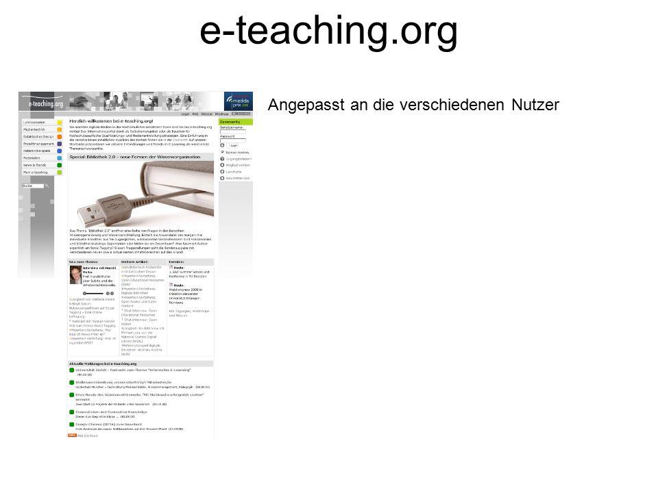 Angepasst an die verschiedenen Nutzer e-teaching.org