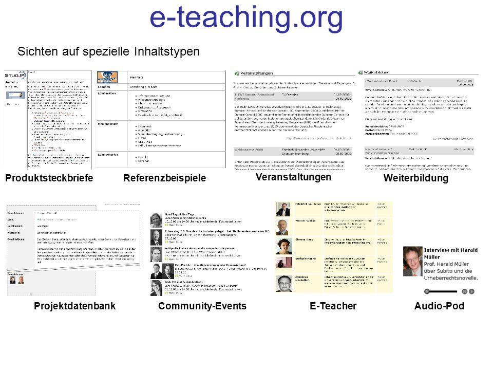 Sichten auf spezielle Inhaltstypen ProduktsteckbriefeReferenzbeispiele Veranstaltungen Weiterbildung ProjektdatenbankCommunity-EventsE-TeacherAudio-Po
