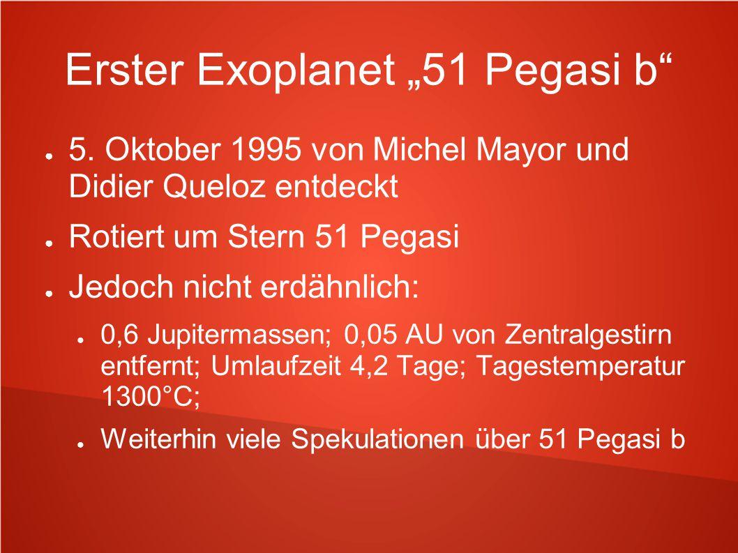 """Erster Exoplanet """"51 Pegasi b"""" ● 5. Oktober 1995 von Michel Mayor und Didier Queloz entdeckt ● Rotiert um Stern 51 Pegasi ● Jedoch nicht erdähnlich: ●"""