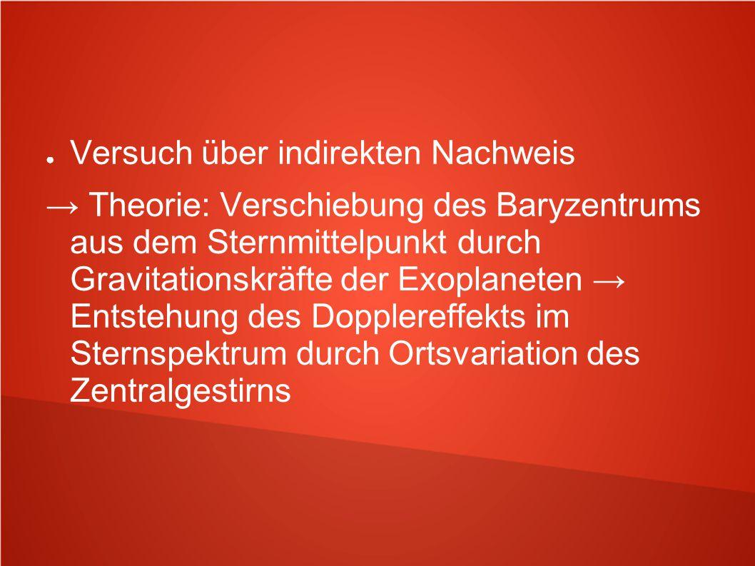● Versuch über indirekten Nachweis → Theorie: Verschiebung des Baryzentrums aus dem Sternmittelpunkt durch Gravitationskräfte der Exoplaneten → Entste