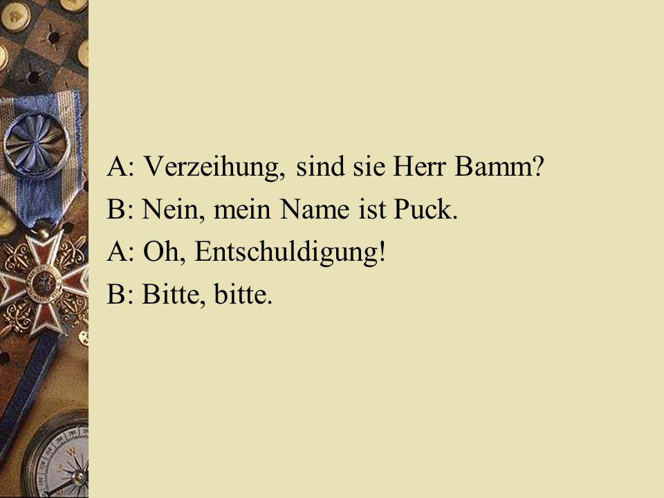 A: Verzeihung, sind sie Herr Bamm? B: Nein, mein Name ist Puck. A: Oh, Entschuldigung! B: Bitte, bitte.