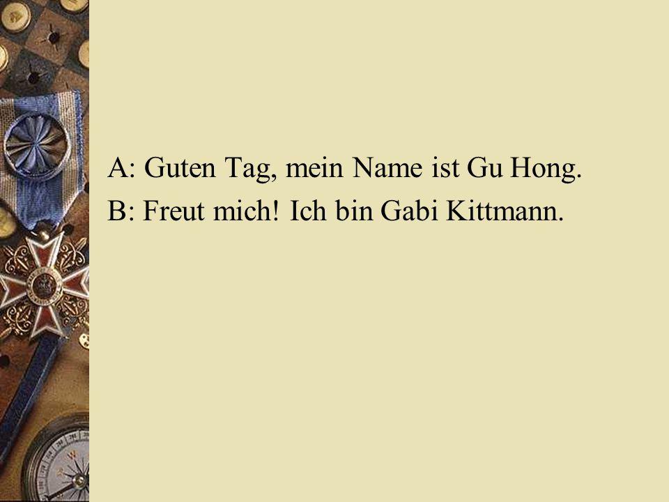 A: Guten Tag, mein Name ist Gu Hong. B: Freut mich! Ich bin Gabi Kittmann.