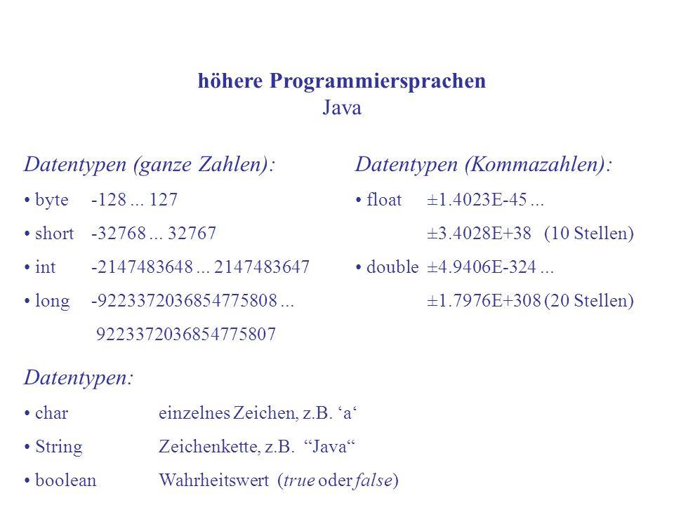 höhere Programmiersprachen Java Datentypen (ganze Zahlen): byte-128... 127 short-32768... 32767 int-2147483648... 2147483647 long -9223372036854775808