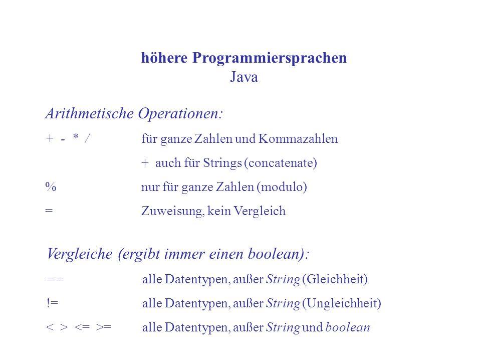 höhere Programmiersprachen Java Arithmetische Operationen: + - * / für ganze Zahlen und Kommazahlen + auch für Strings (concatenate) % nur für ganze Z
