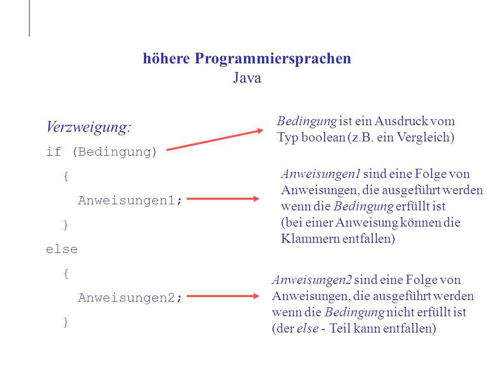 höhere Programmiersprachen Java Verzweigung: if (Bedingung) { Anweisungen1; } else { Anweisungen2; } Bedingung ist ein Ausdruck vom Typ boolean (z.B.