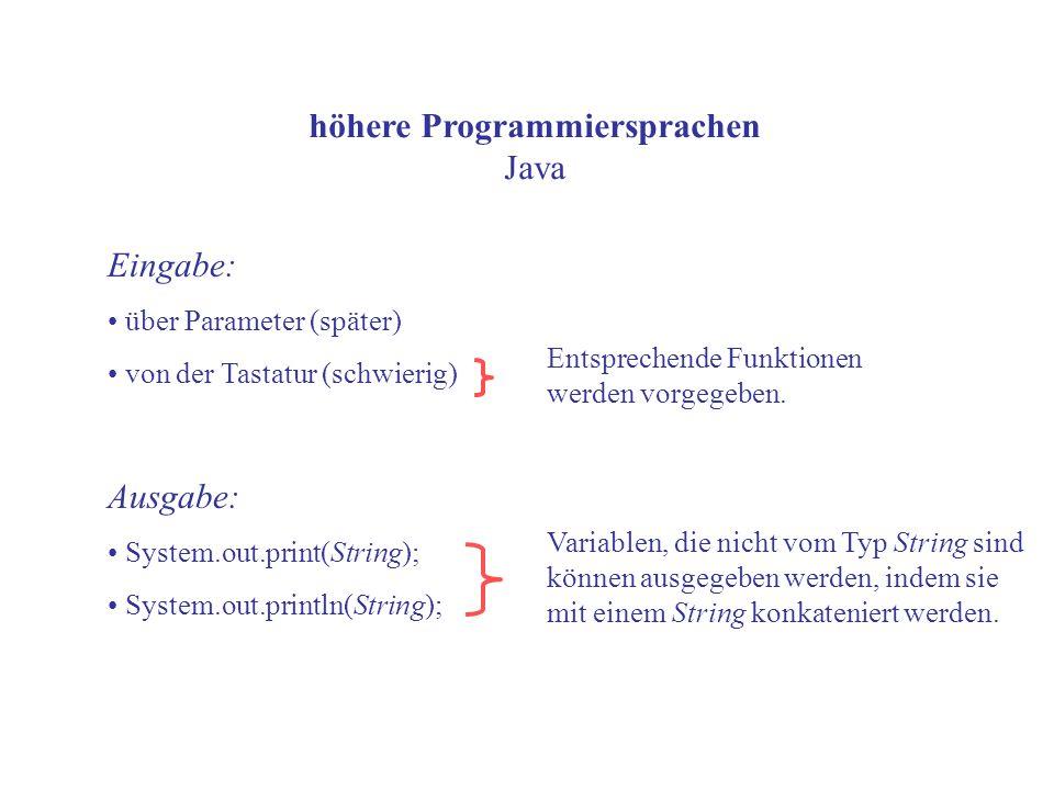 höhere Programmiersprachen Java Eingabe: über Parameter (später) von der Tastatur (schwierig) Ausgabe: System.out.print(String); System.out.println(String); Variablen, die nicht vom Typ String sind können ausgegeben werden, indem sie mit einem String konkateniert werden.
