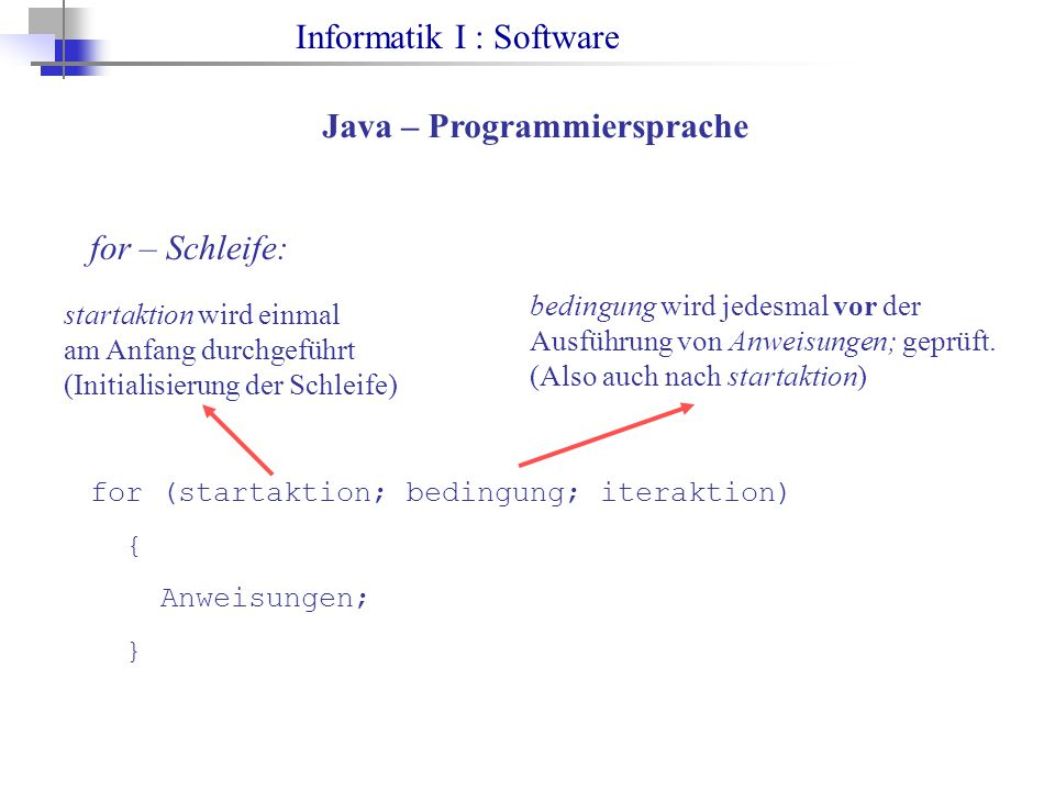 Informatik I : Software Java – Programmiersprache for – Schleife: for (startaktion; bedingung; iteraktion) { Anweisungen; } startaktion wird einmal am Anfang durchgeführt (Initialisierung der Schleife) bedingung wird jedesmal vor der Ausführung von Anweisungen; geprüft.
