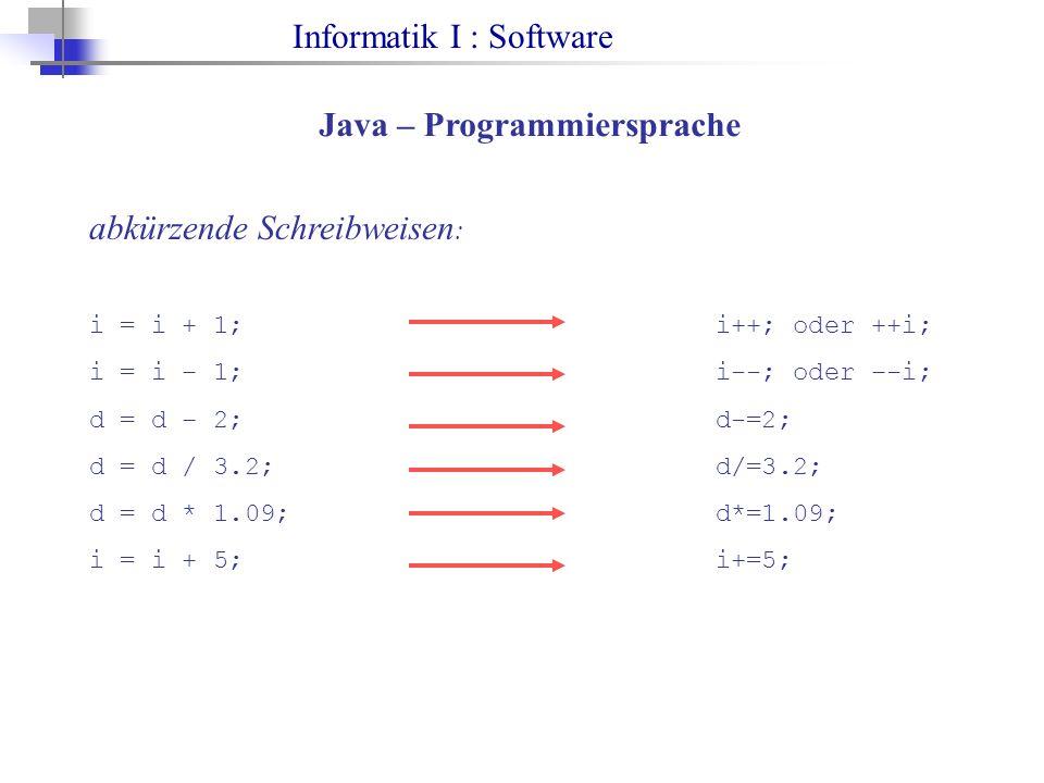 Informatik I : Software Java – Programmiersprache abkürzende Schreibweisen : i = i + 1;i++; oder ++i; i = i – 1;i--; oder –-i; d = d – 2;d-=2; d = d / 3.2;d/=3.2; d = d * 1.09;d*=1.09; i = i + 5;i+=5;