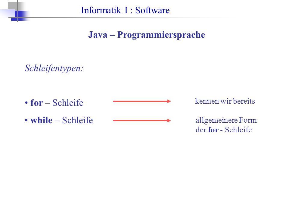 Informatik I : Software Java – Programmiersprache Schleifentypen: for – Schleife while – Schleife kennen wir bereits allgemeinere Form der for - Schle